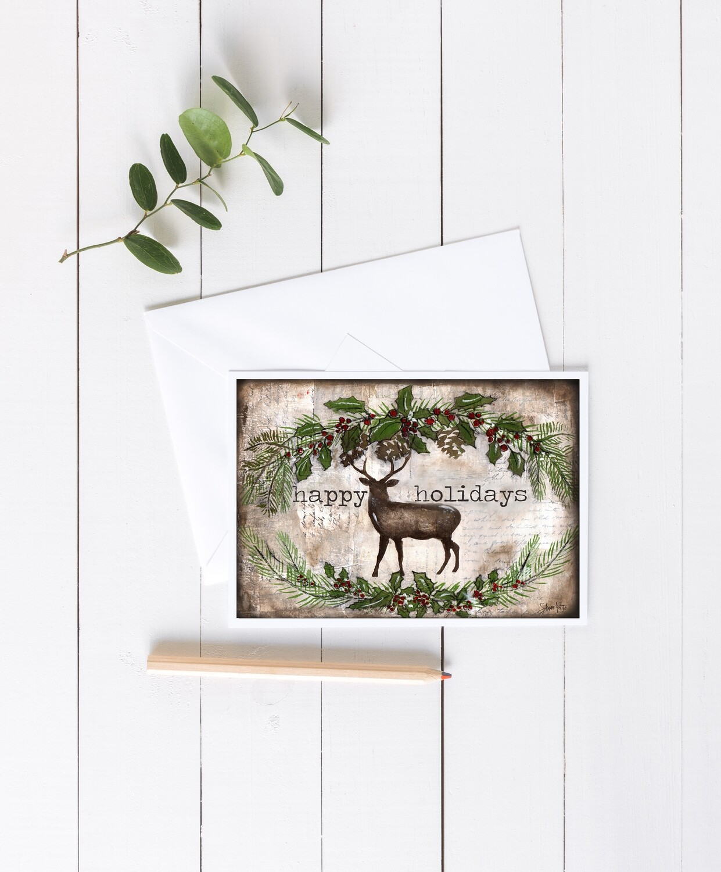 """Happy Holidays"" deer 7x5 4 pack card"