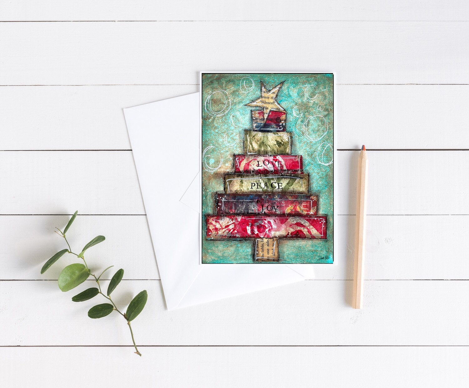 """Christmas tree Love, Peace, Joy"" 5x7 4 pack card"