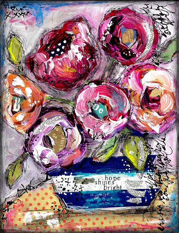 """""""Hope Shines Bright"""" floral Print on Wood 4x6 Overstock"""