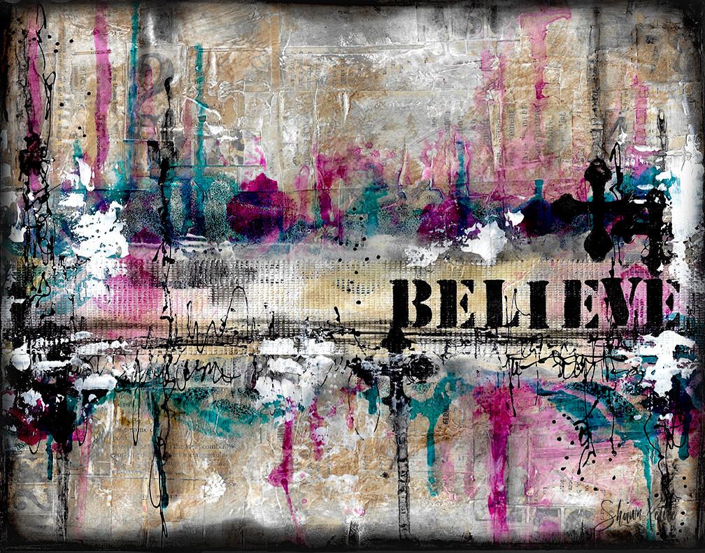 """Believe"" Print on Wood 6x4 Overstock"