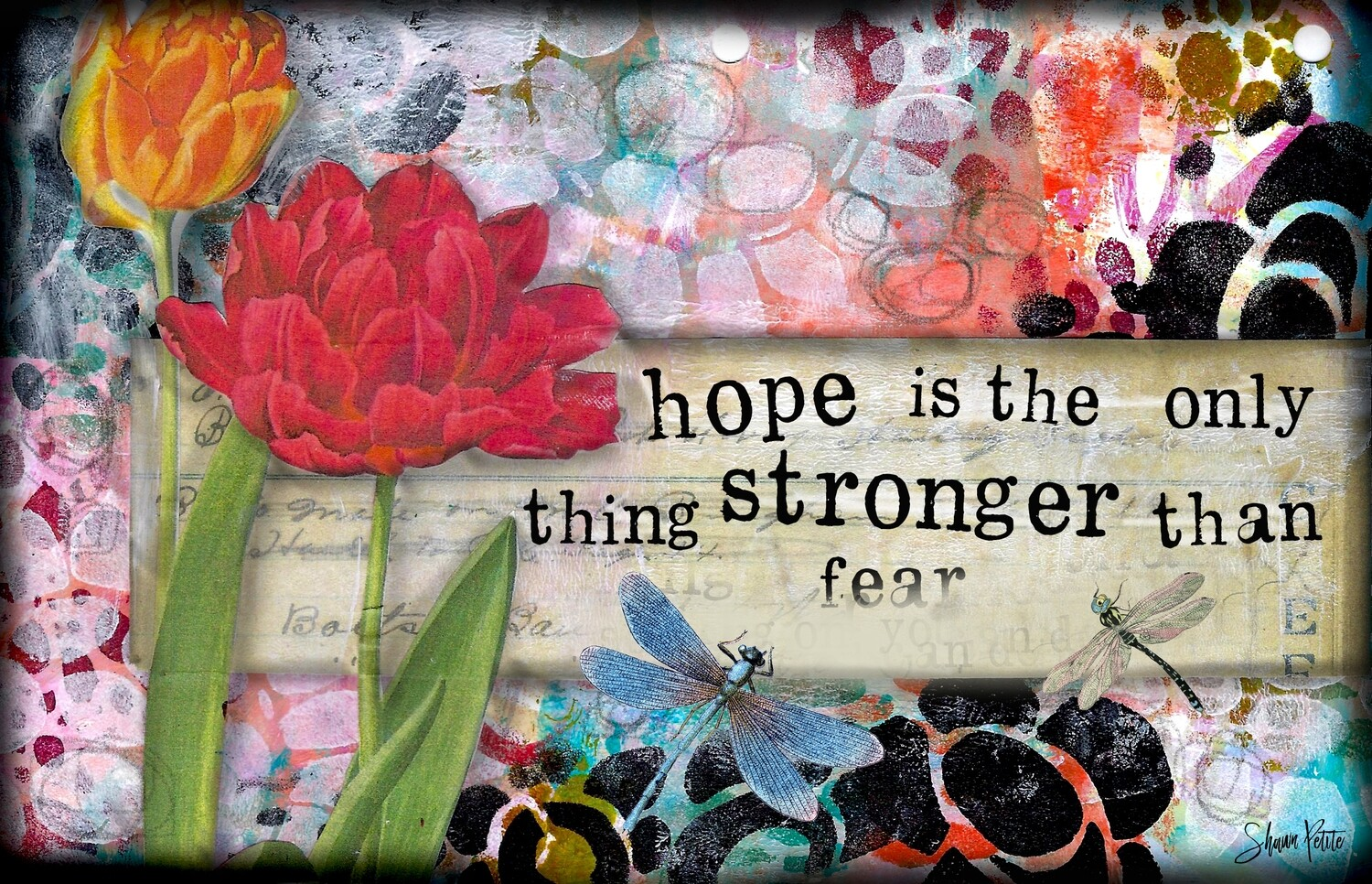 """Hope is the only thing stronger than fear"" Print on Wood 6x4 Overstock"