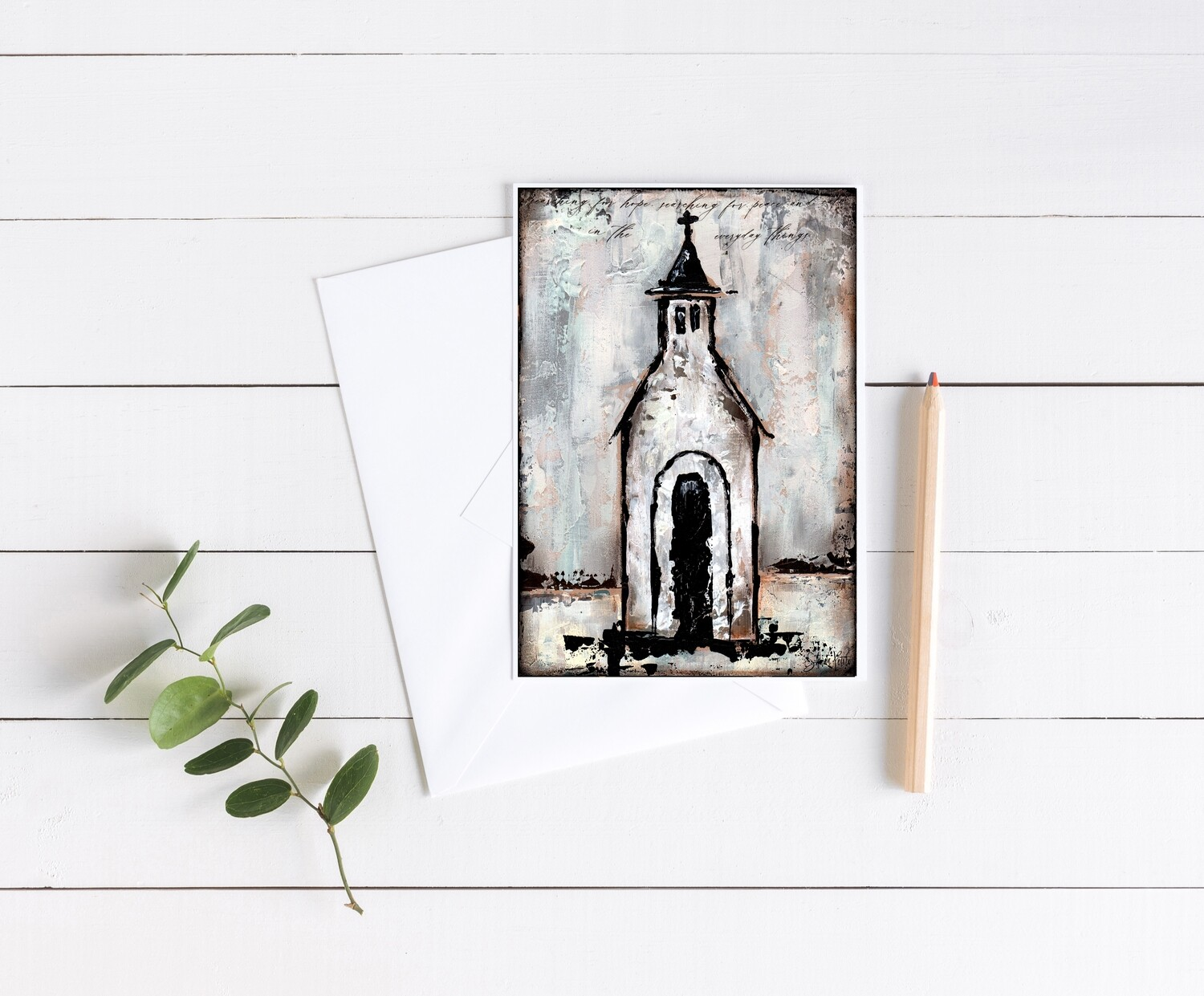 """Searching for Peace"" rustic church 5x7 card"