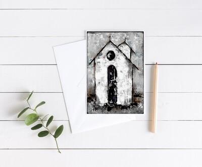 """""""Grateful"""" rustic church 5x7 card"""