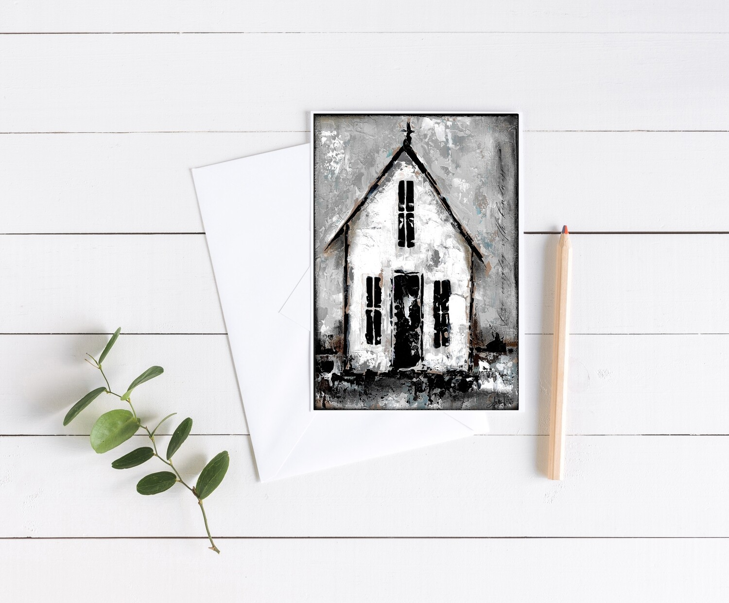 """Everyday with kindness"" rustic church 5x7 card"