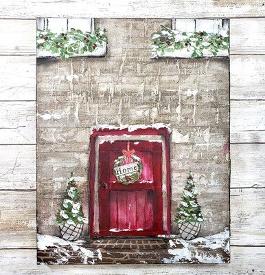 Home red door holiday 11x14