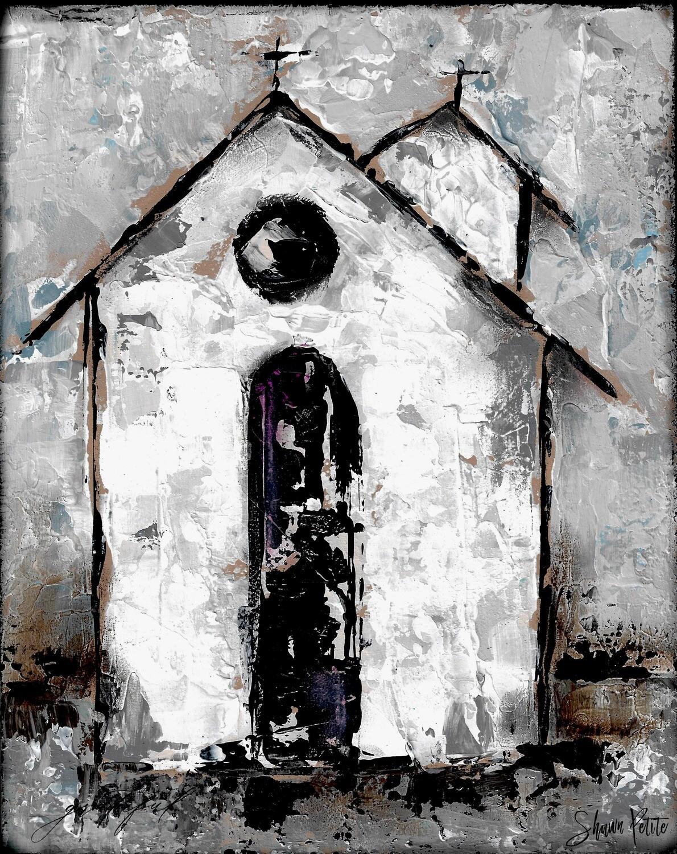 """Grateful"" rustic church 8x10 mixed media original"