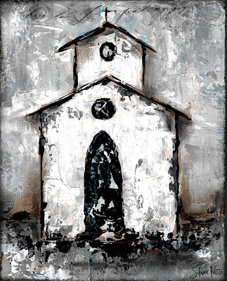 """Find my Joy"" rustic church 8x10 mixed media original"