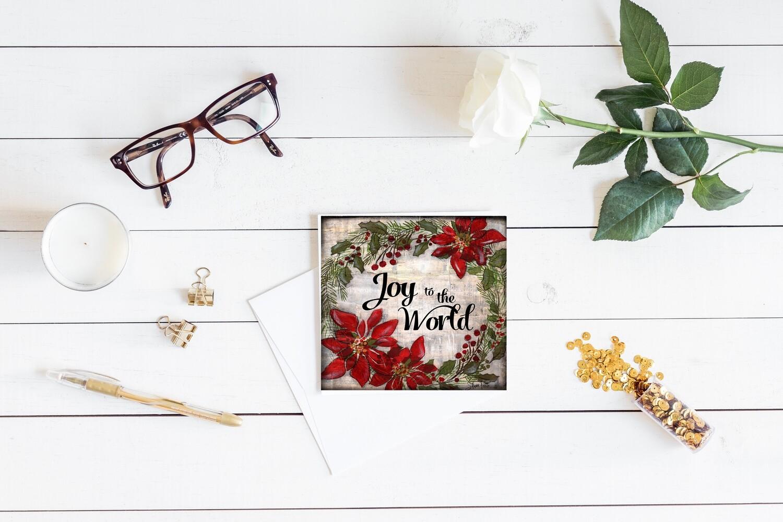 """Joy to the world"" wreath wood frame single 5x5 card"