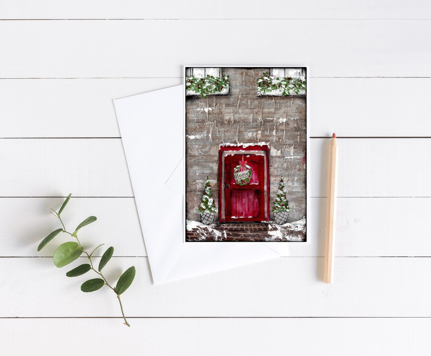 """""""Home red door"""" holiday 5x7 card"""