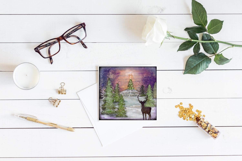 """Silent Night Holy Night"" Christmas 5x5 card"
