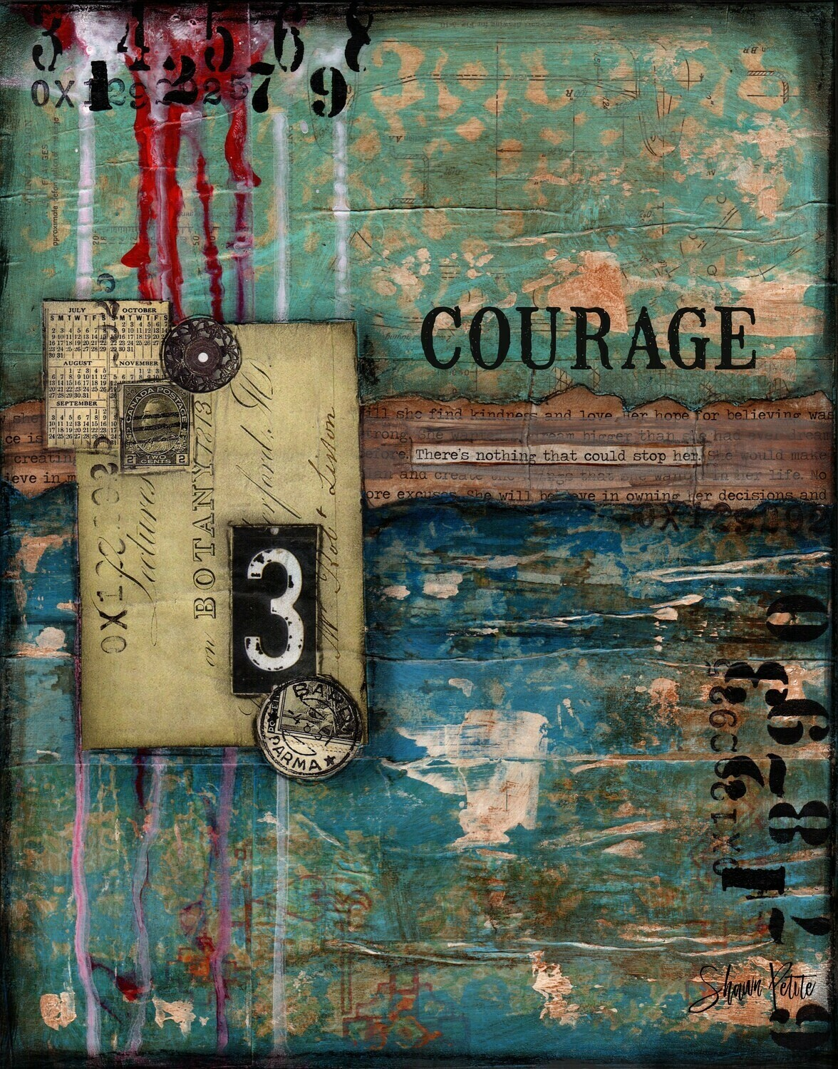 """Courage"" Print on Wood 4x6 Overstock"