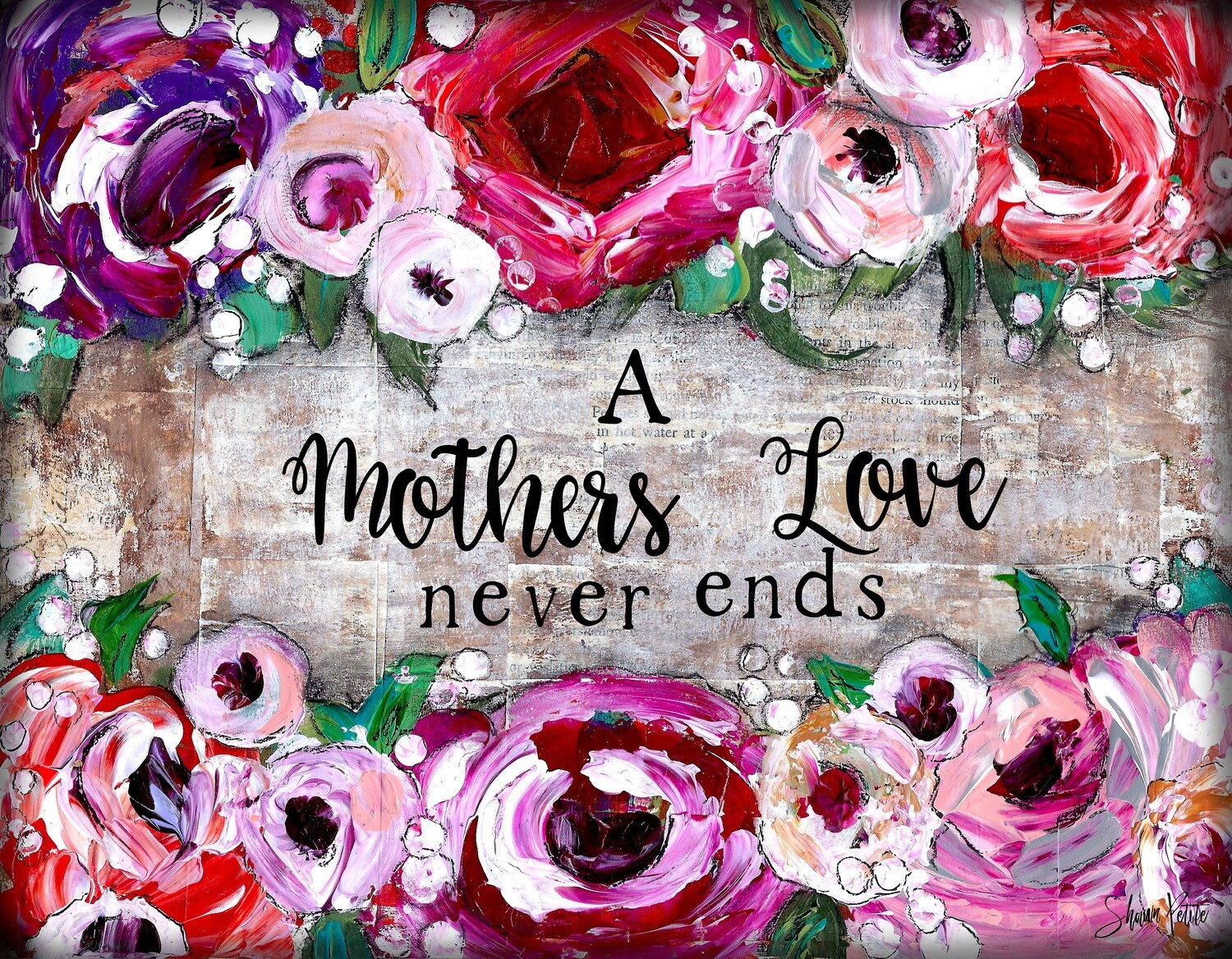"""A Mothers love never ends"" Print on Wood 6x4 Overstock"