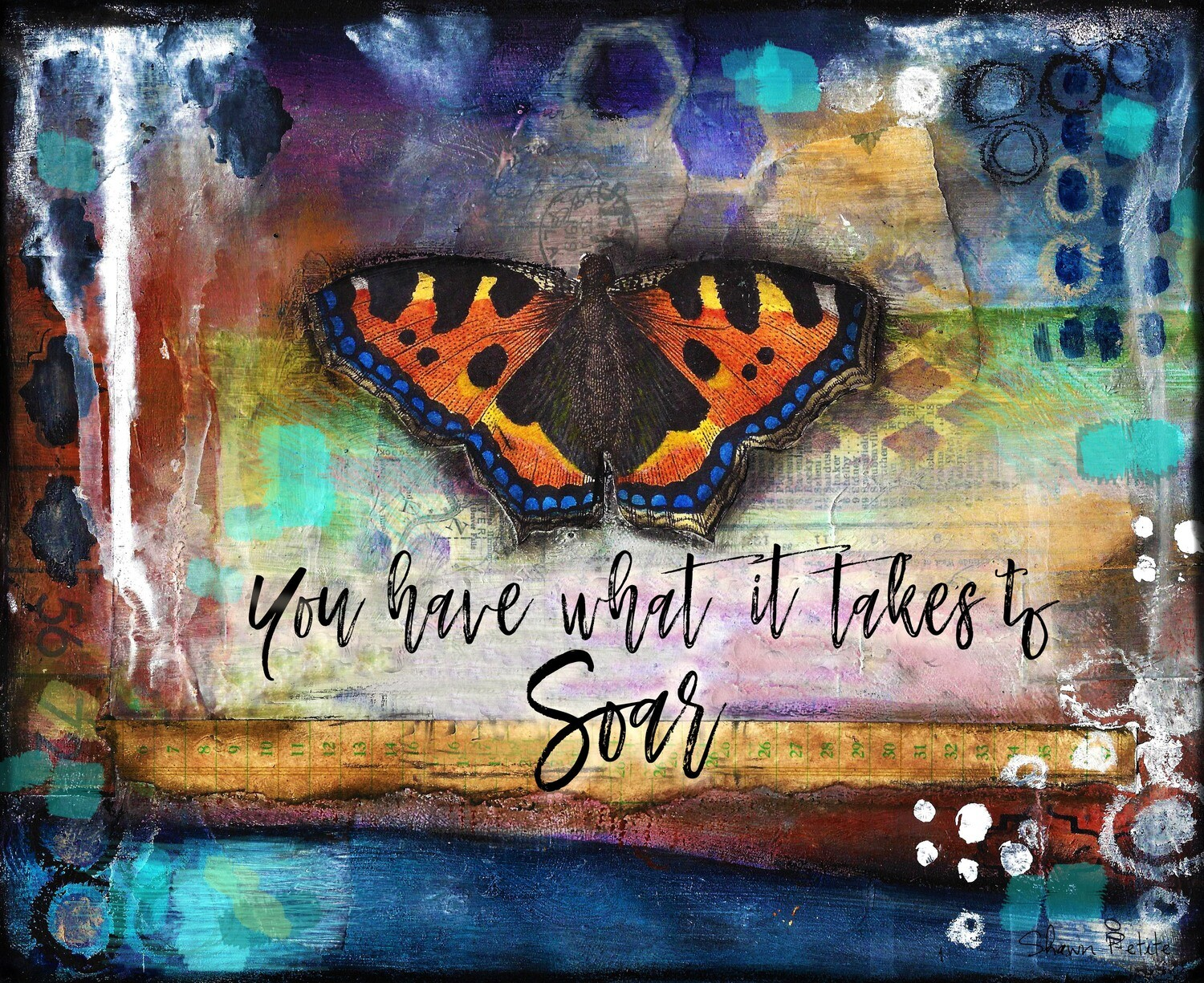 """You have what it takes to soar"" butterfly Print on Wood 7x5 Overstock"