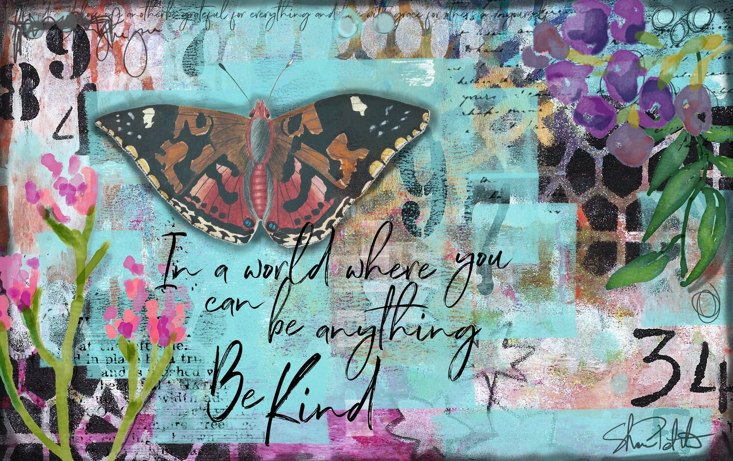 """""""In a world where you can be anything be kind"""" butterfly Print on Wood 7x5 Overstock"""