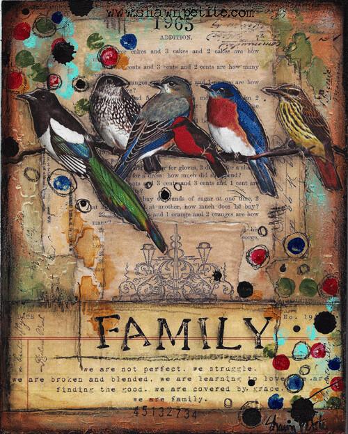 """Family"" birds Print on Wood 5x7 Overstock"