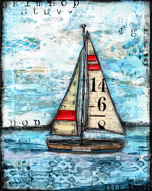 """Discover"" sailboat Print on Wood 5x7 Overstock"