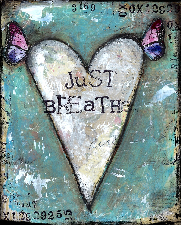 """Just Breathe"" heart Print on Wood 5x7 Overstock"