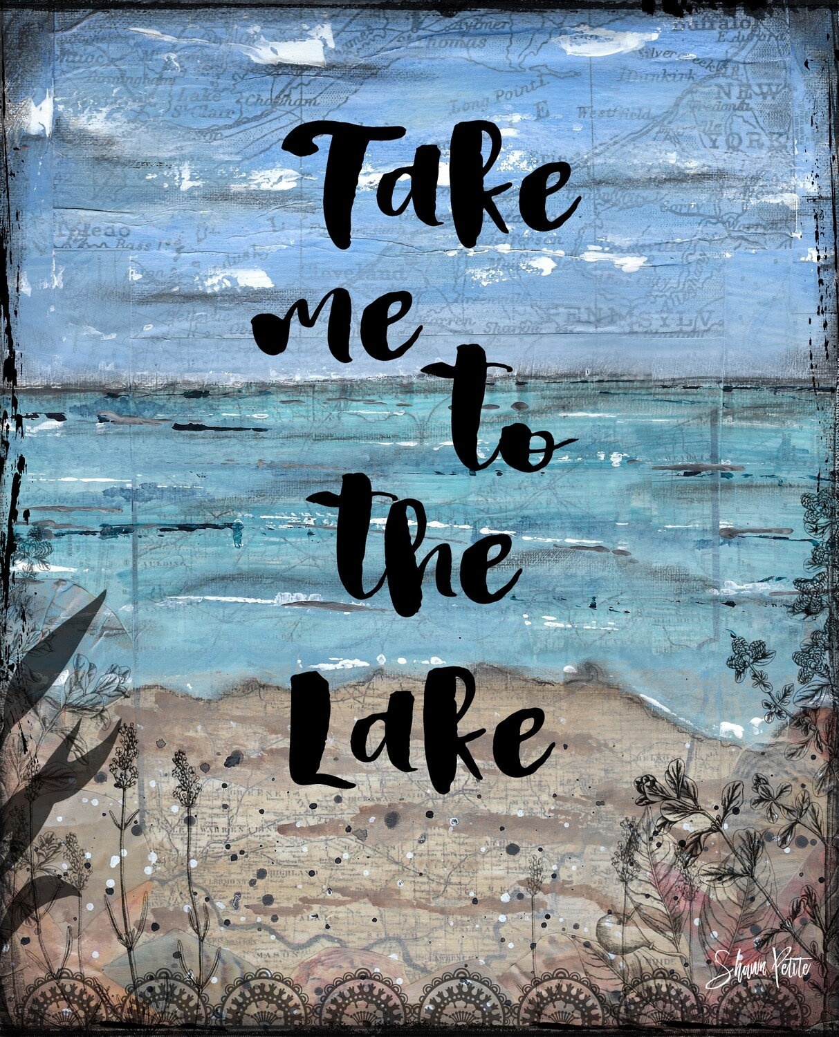 """Take me to the lake"" Print on Wood 5x7 Overstock"