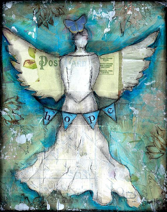 """Hope"" angel Print on Wood 5x7 Overstock"