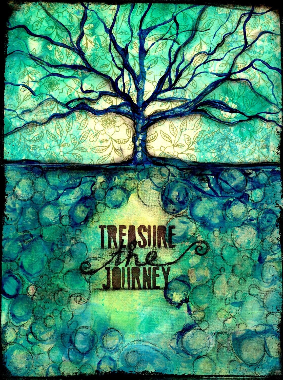 """Treasure the Journey"" Print on Wood 5x7 Overstock"