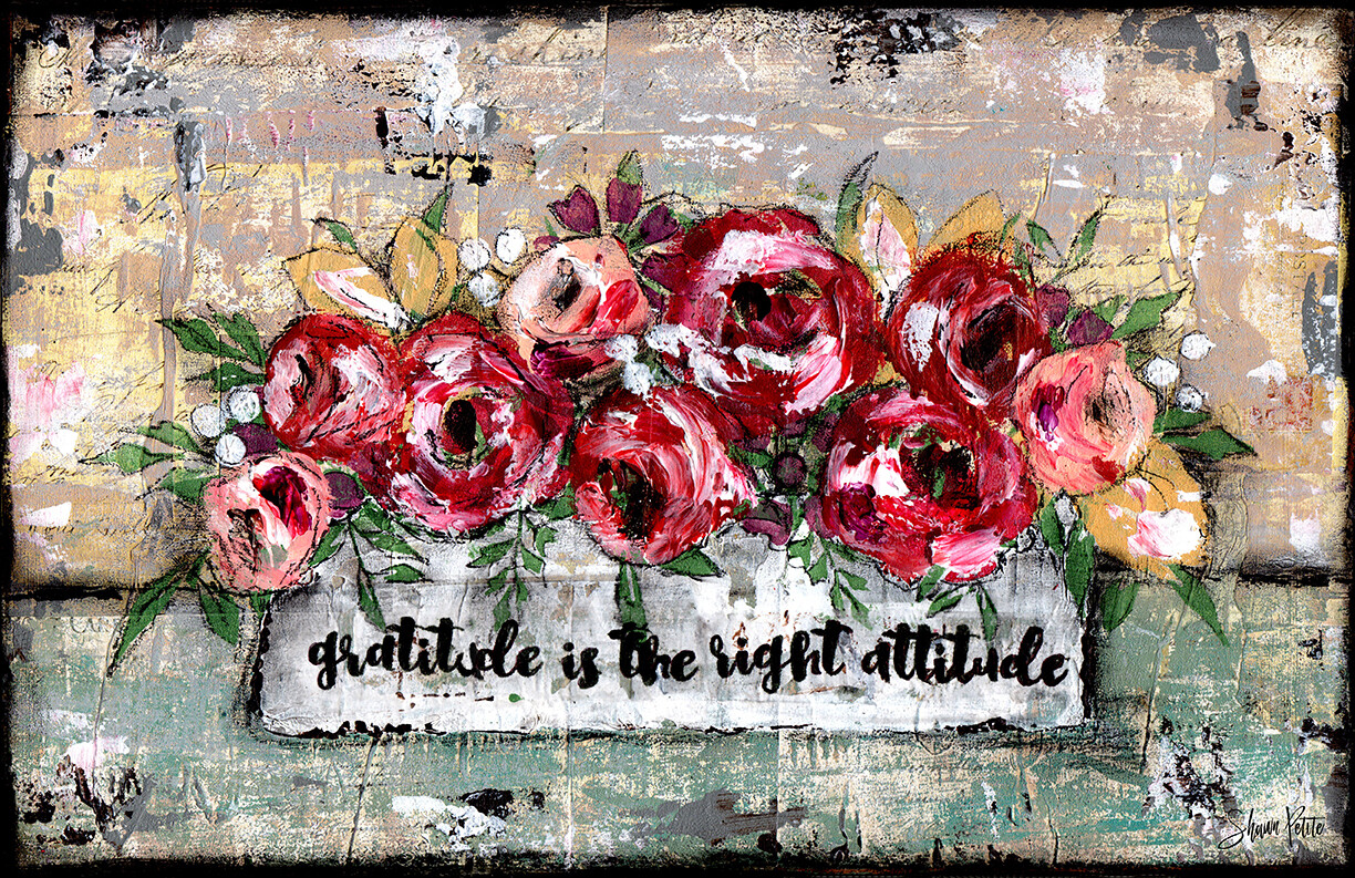 """Gratitude is the right attitude"" Print on Wood 7x5 Overstock"