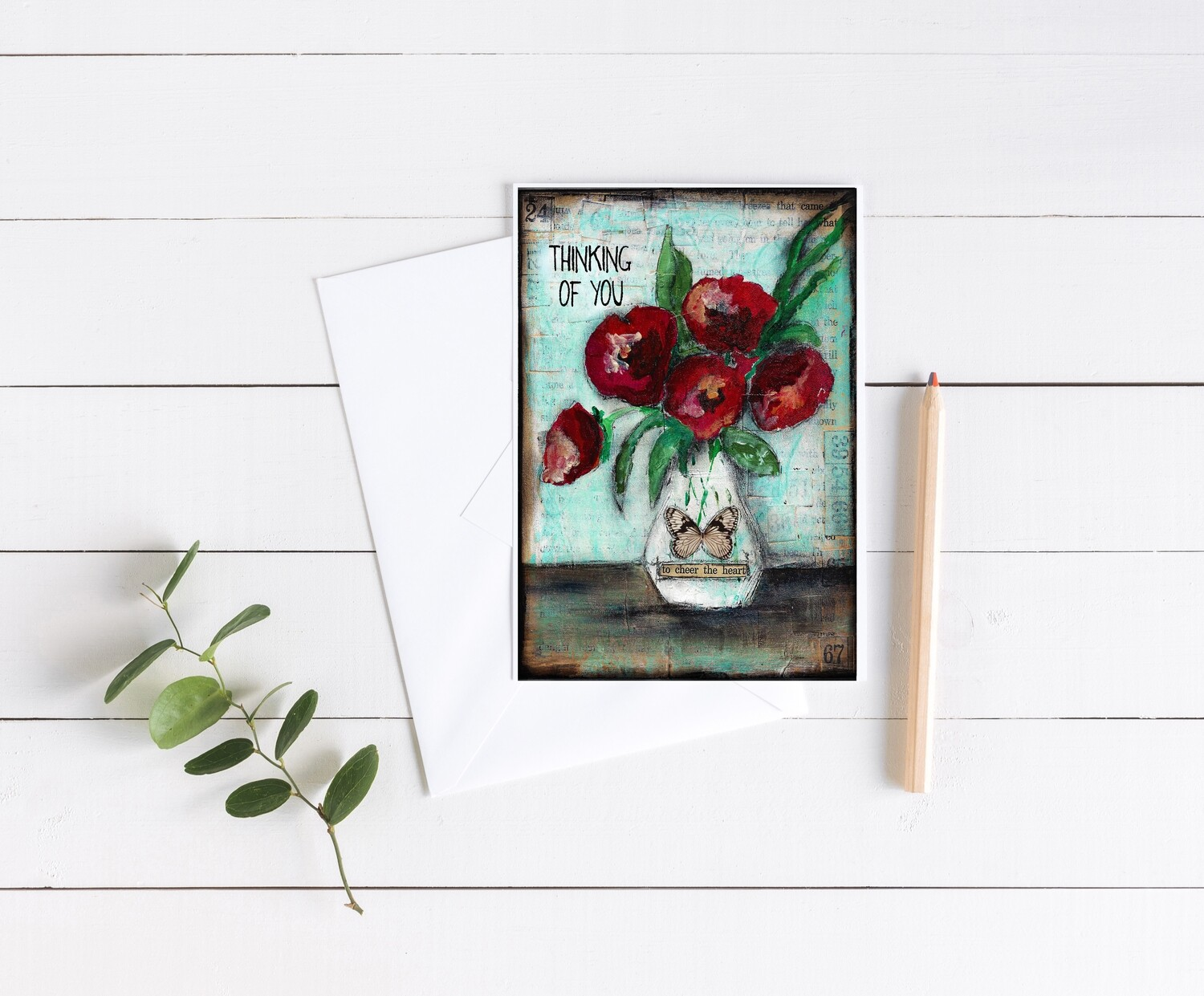 """""""Thinking of You"""" floral 5x7 4 pack card"""