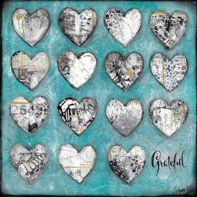Grateful hearts teal and white, Print on Wood and Print to be Framed