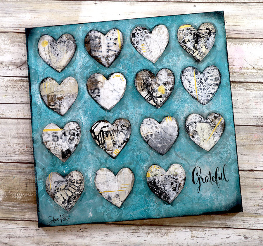 Grateful hearts teal and white 12 x12 mixed media original