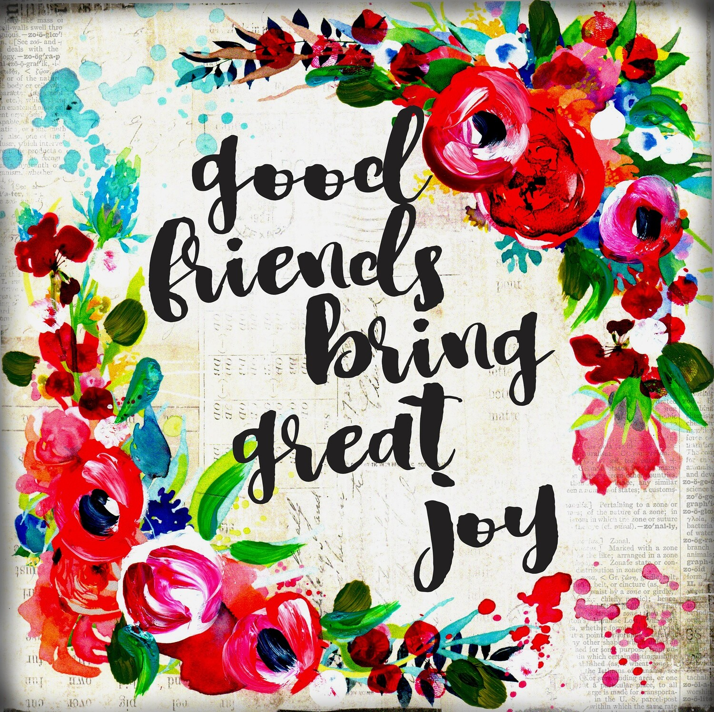 """Good friends bring great joy"" Print on Wood 6x6 Overstock"