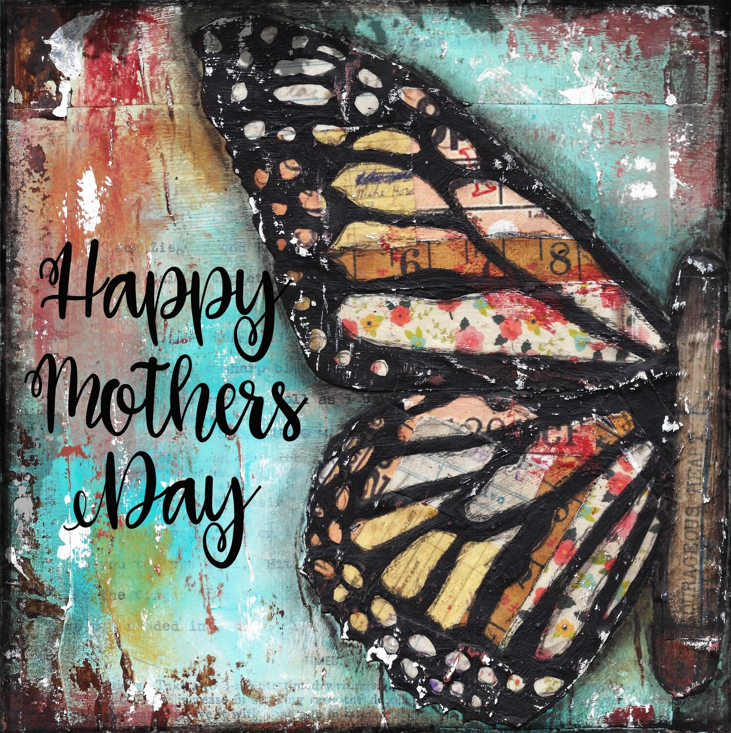"""""""Happy Mothers Day"""" butterfly Print on Wood 6x6 Overstock"""