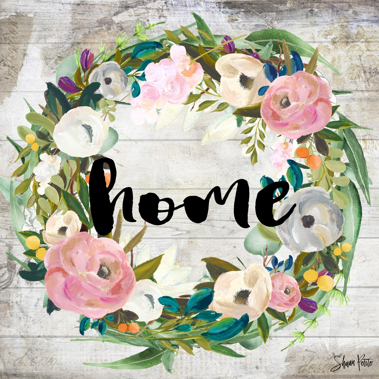 """Home"" wreath Print on Wood 6x6 Overstock"