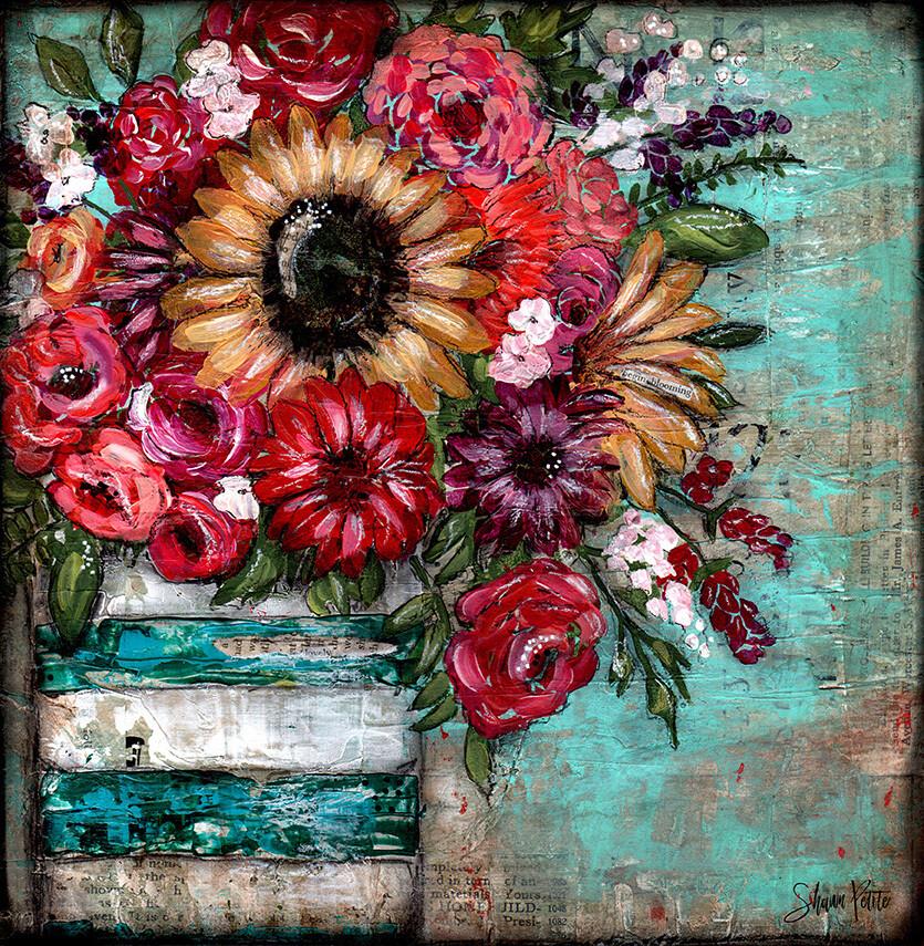 """Bright sunflower lovely"" teal vase Print on Wood 6x6 Overstock"