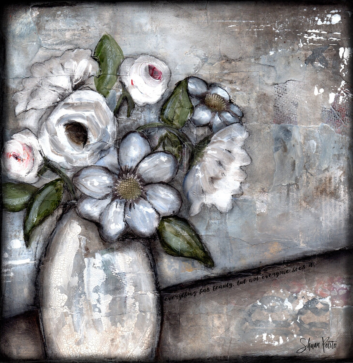 """""""Beauty in everything"""" floral Print on Wood 6x6 Overstock"""