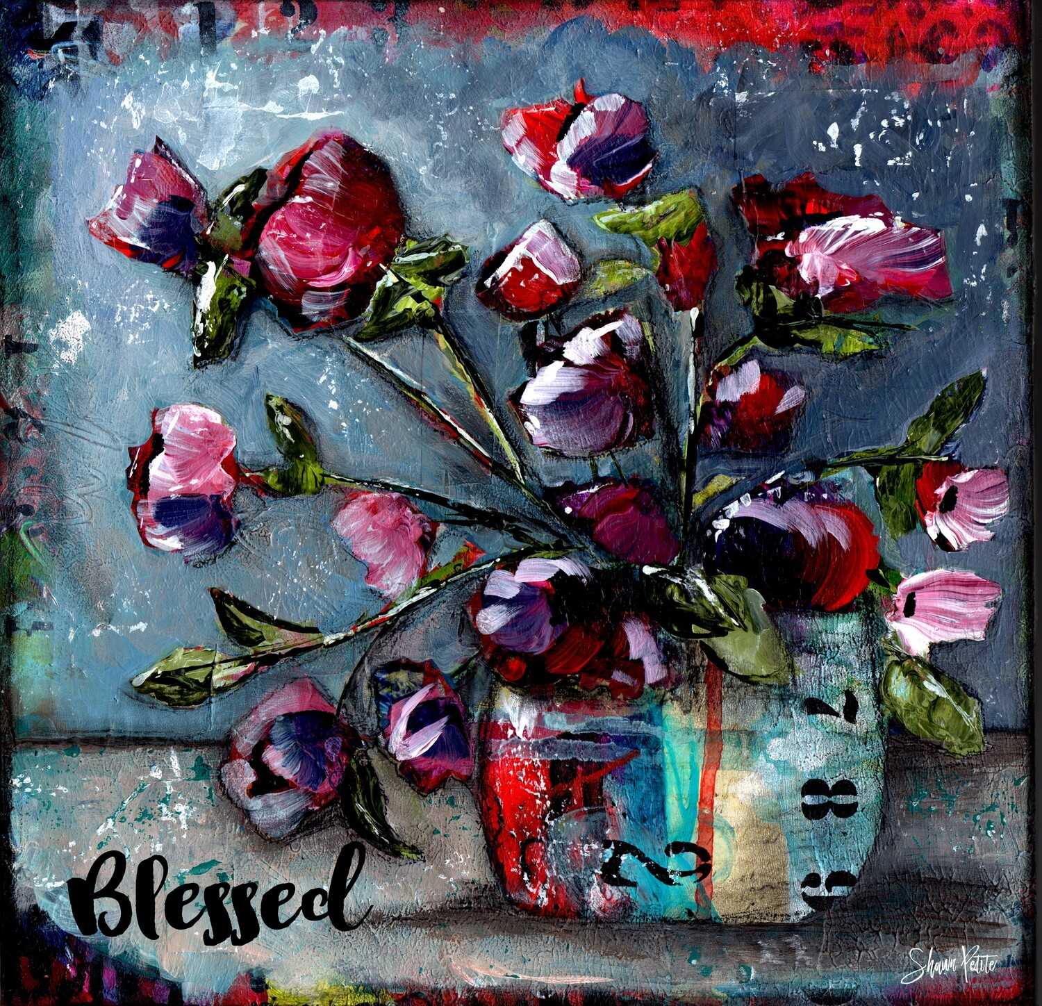 """""""Blessed"""" floral Print on Wood 6x6 Overstock"""