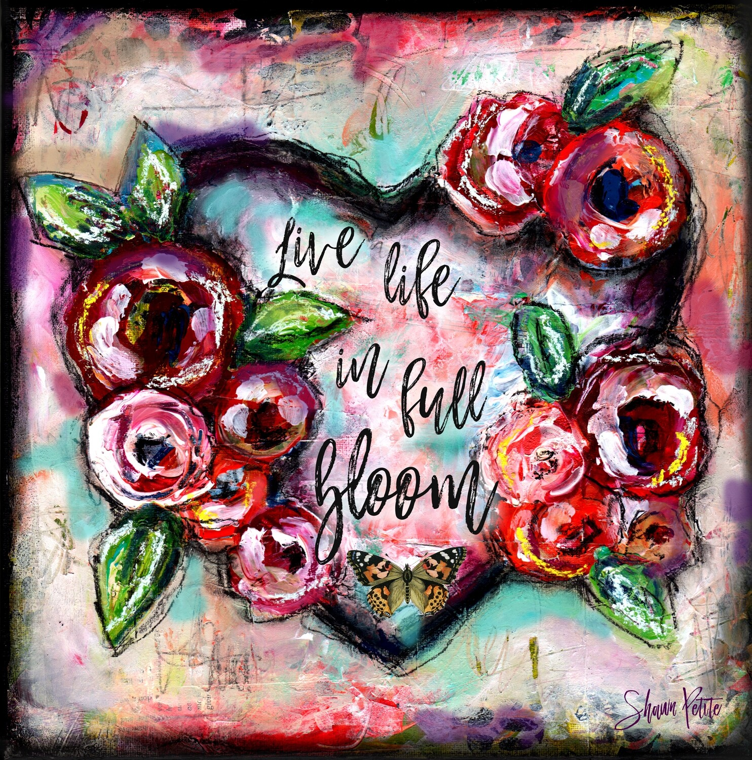 """""""Live life in full bloom"""" heart Print on Wood 6x6 Overstock"""