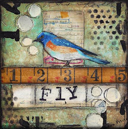 """Fly"" bird Print on Wood 6x6 Overstock"