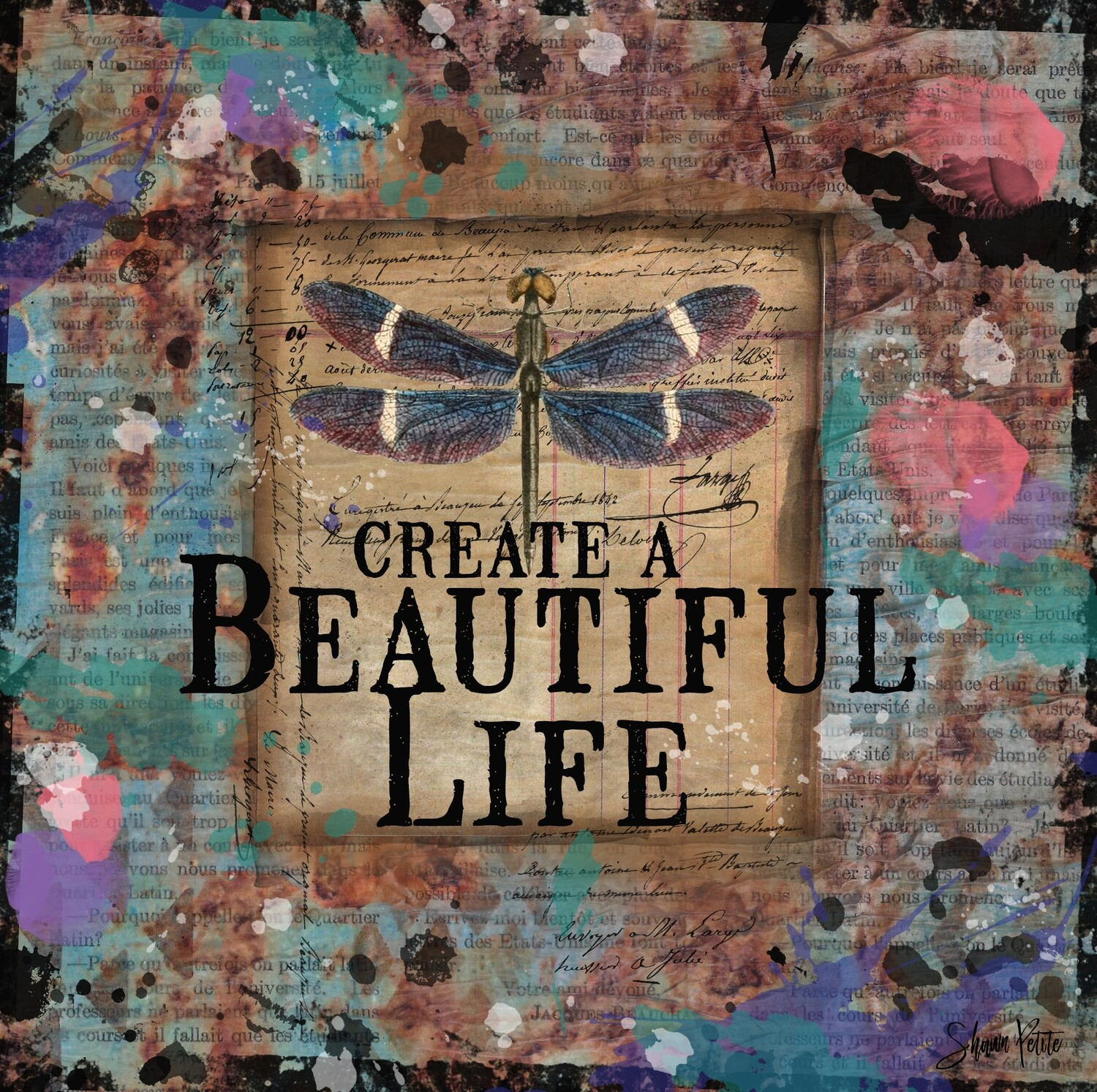 """""""Create a beautiful life"""" dragonfly Print on Wood 6x6 Overstock"""