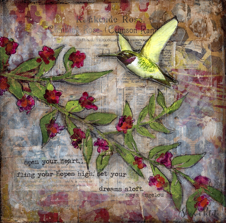 """Open your heart"" hummingbird Print on Wood 6x6 Overstock"