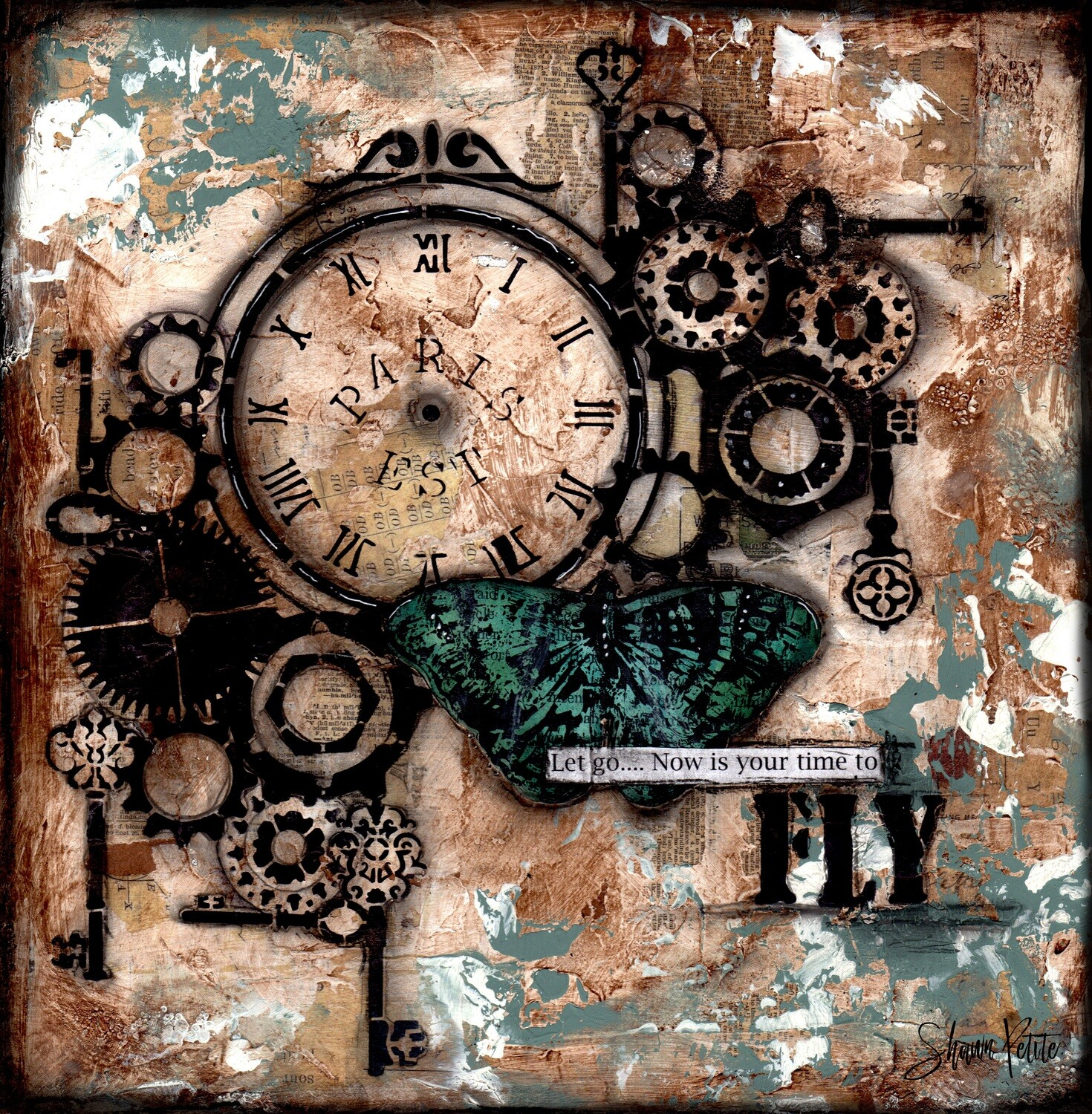 """""""Let go now is your time to fly"""" gears Print on Wood 6x6 Overstock"""