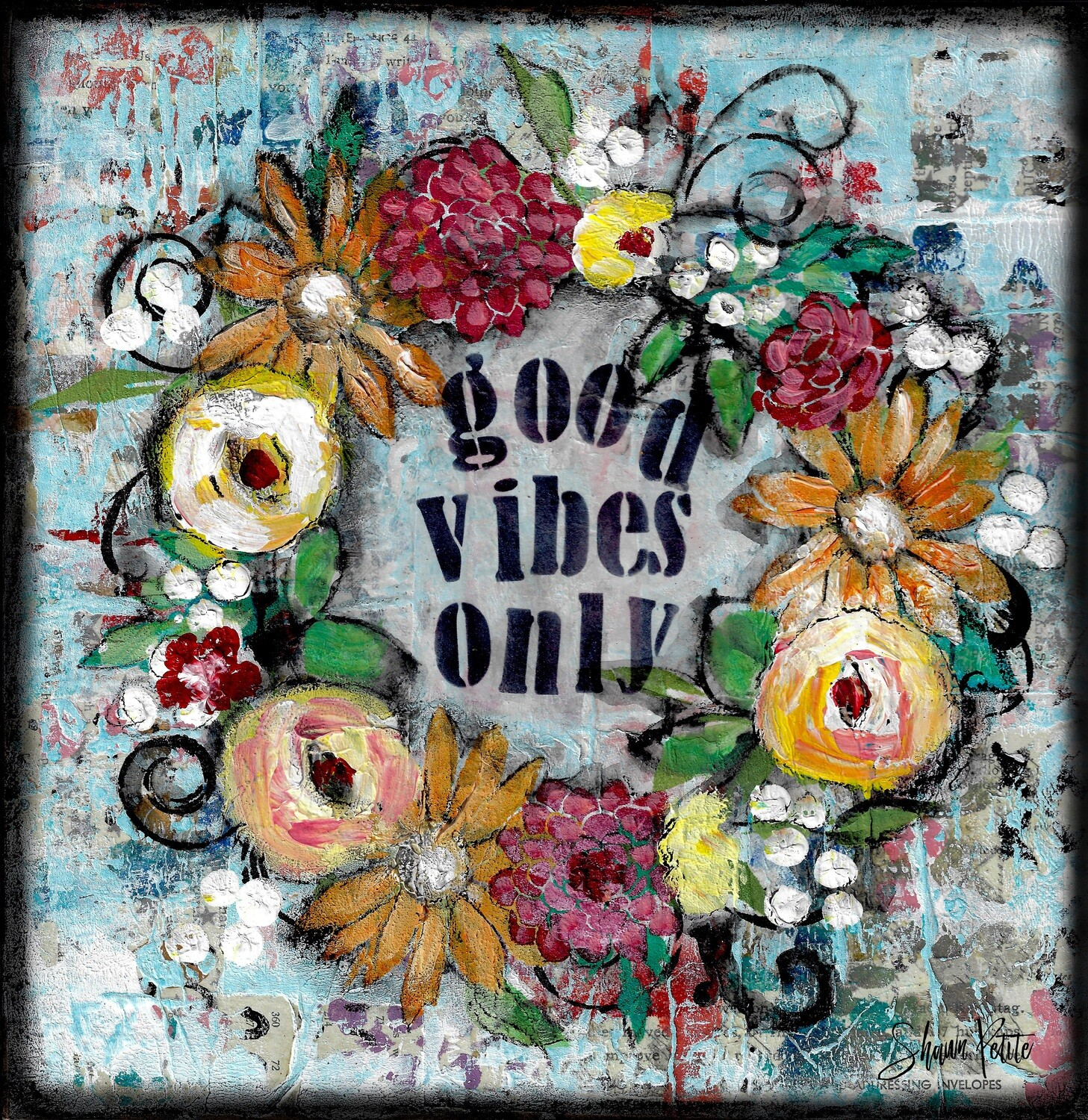 """""""Good vibes only"""" Print on Wood 6x6 Overstock"""