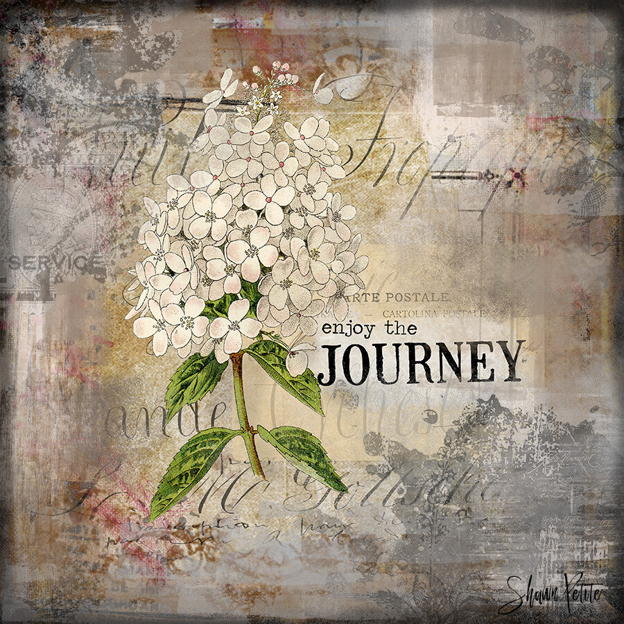 """Enjoy the journey"" Hydrangea Print on Wood 6x6 Overstock"