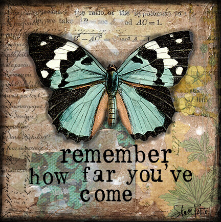 """Remember how far you've come"" butterfly Print on Wood 6x6 Overstock"