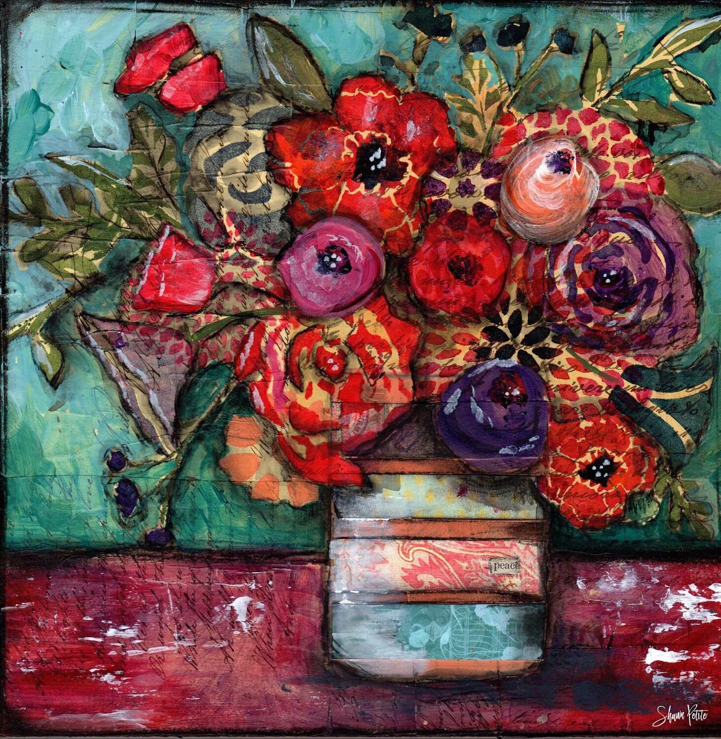 """""""Bright flowers"""" floral Print on Wood 6x6 Overstock"""