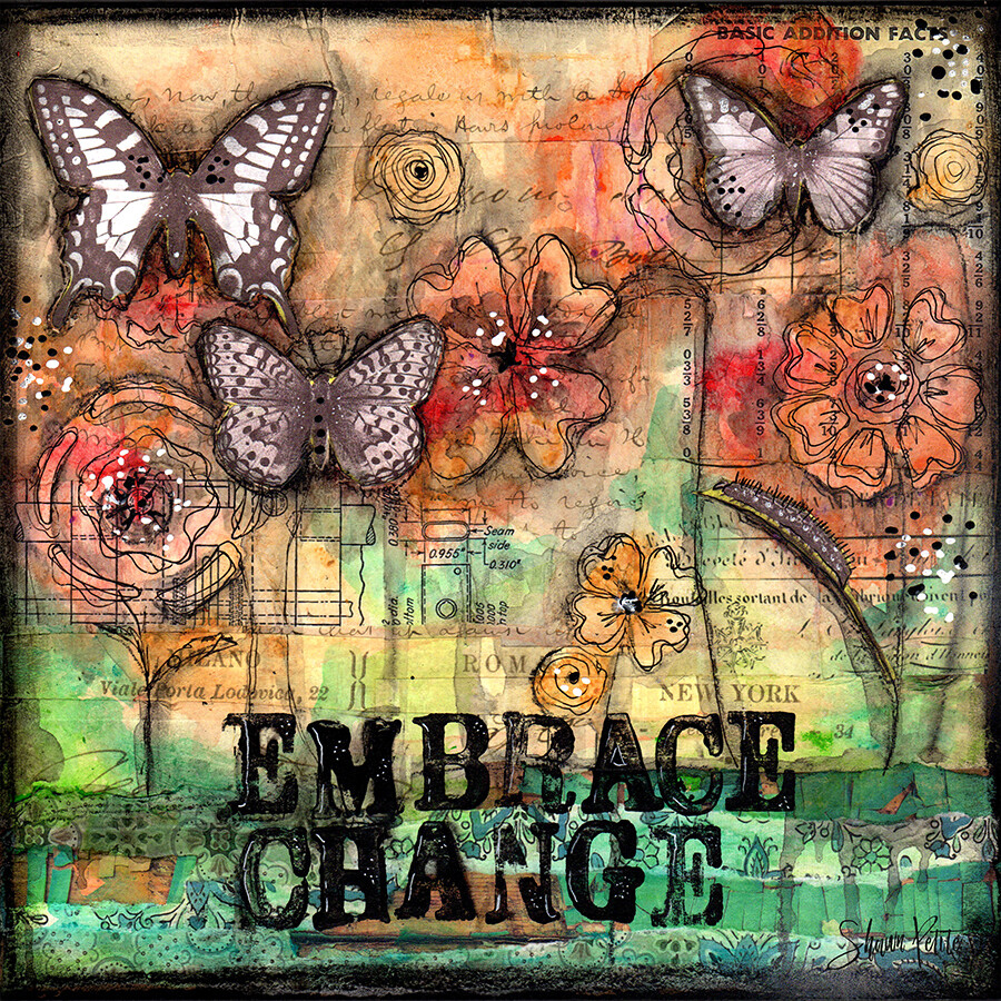 """""""Embrace change"""" butterfly Print on Wood 6x6 Overstock"""