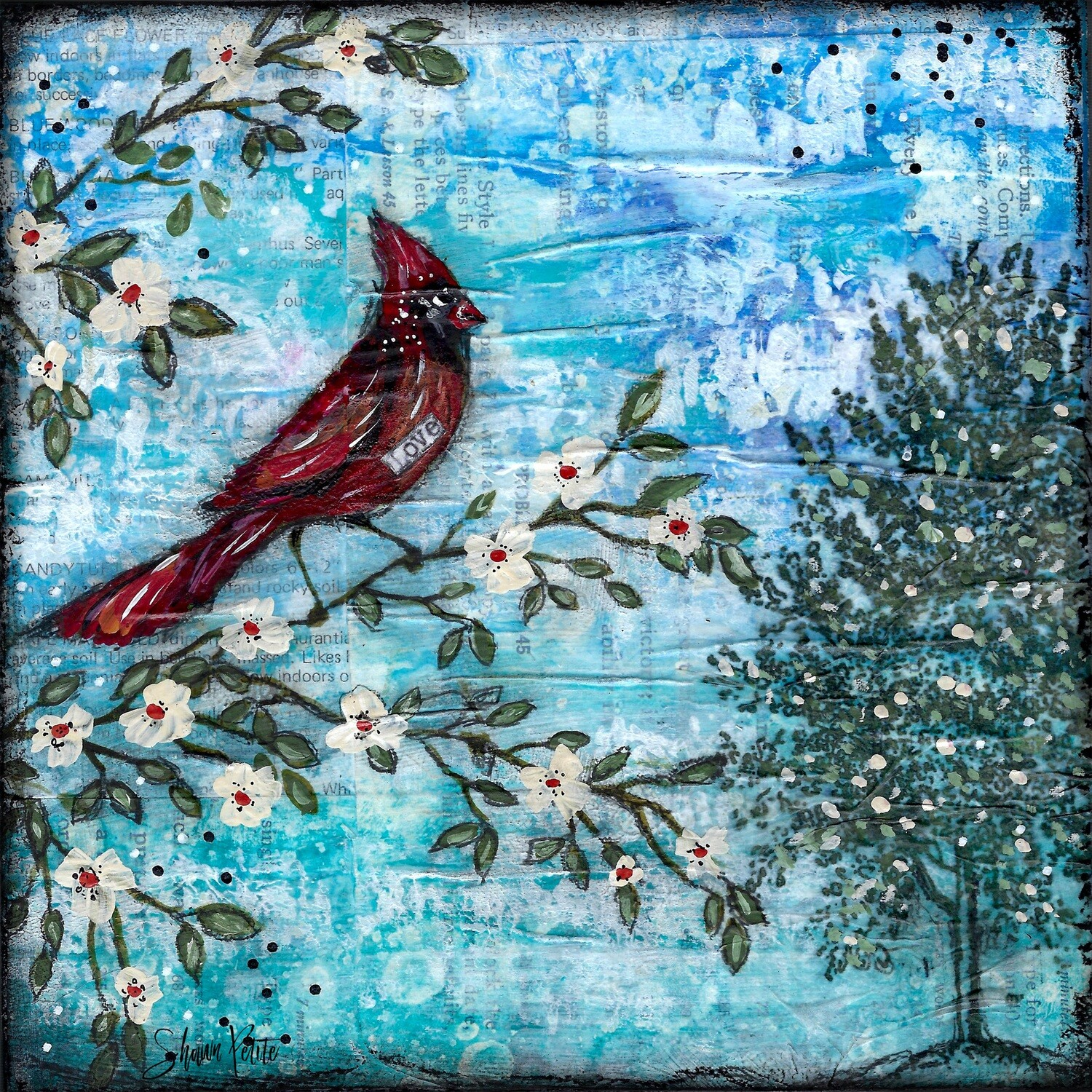 """""""Love"""" blue with cardinal Print on Wood 6x6 Overstock"""