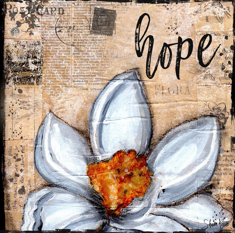 """""""Hope"""" magnolia Print on Wood 6x6 Overstock"""