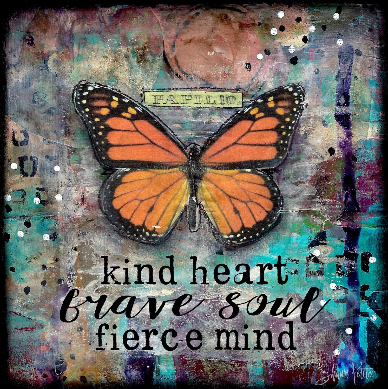 """Kind heart brave soul fierce mind"" butterfly Print on Wood 6x6 Overstock"