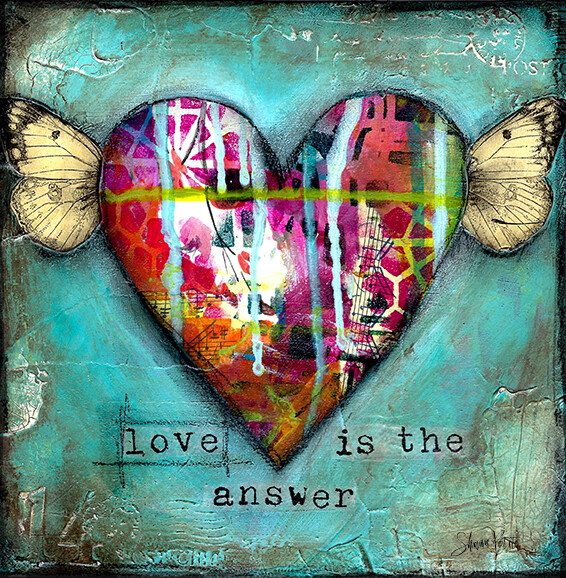 """""""Love is the answer"""" heart Print on Wood 6x6 Overstock"""