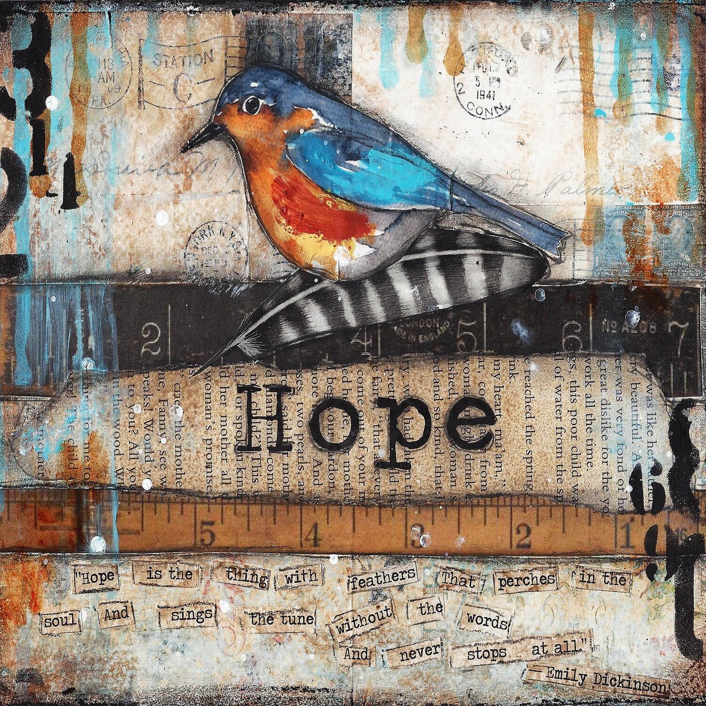 """Hope"" bird Print on Wood 6x6 Overstock"