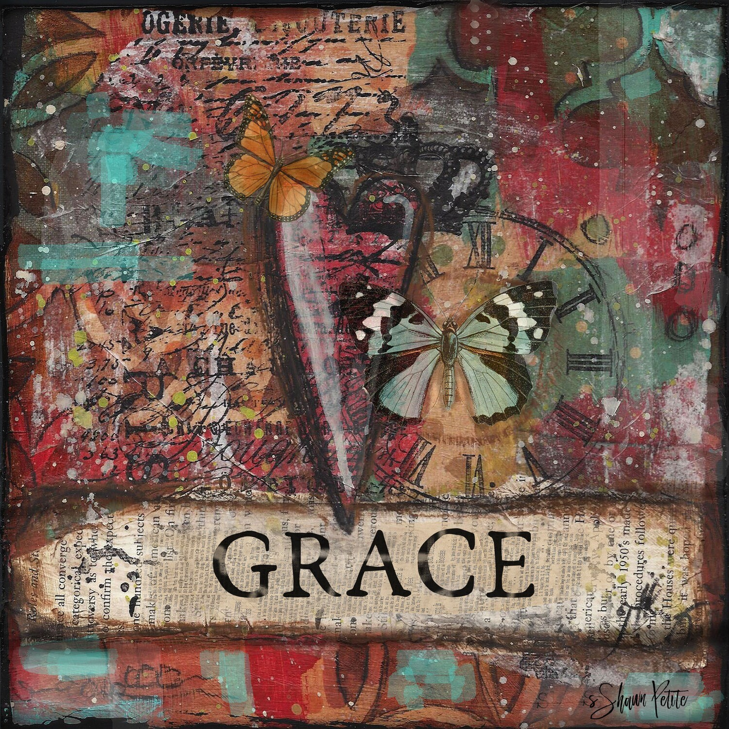 """Grace"" heart and butterfly Print on Wood 6x6 Overstock"